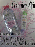 Garnier SkinActive Micellar cleansing water and Clearly Brighter Brightening & Smoothing Daily Moisturizer spf 15